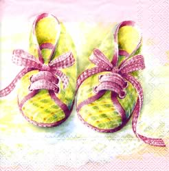 20 Servietten - 25 x 25 cm BABY SHOES rose                         ,  Menschen - Babys,  Ereignisse - Geburt,  Everyday,  cocktail servietten