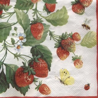 20 Servietten - 33 x 33 cm FRESH STRAWBERRIES white pearl          ,  Früchte - Erdbeeren,  Everyday,  lunchservietten,  Erdbeeren