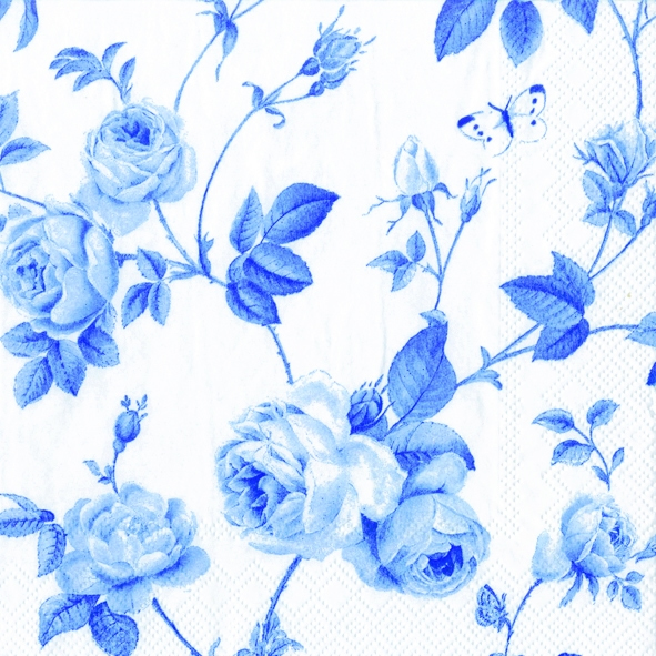 20 Servietten - 33 x 33 cm RAMBLING ROSE white blue                ,  Blumen - Rosen,  Everyday,  lunchservietten