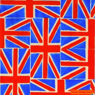 20 Servietten - 33 x 33 cm UNION JACK                              ,  Regionen -  Sonstige,  Regionen - Länder - Flaggen,  Everyday,  lunchservietten,  Großbritanien