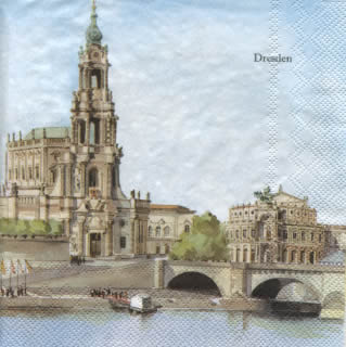 20 Servietten - 33 x 33 cm DRESDEN                                 ,  Regionen -  Sonstige,  Everyday,  lunchservietten,  Dresden,  Frauenkirche,  Semperoper