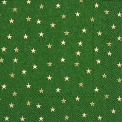 Servietten 33x33 cm - LITTLE STARS green gold