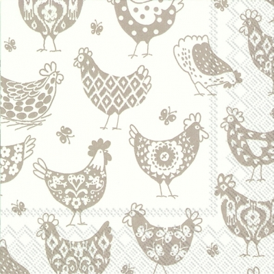 Lunch Servietten PATTERN HENS white linen