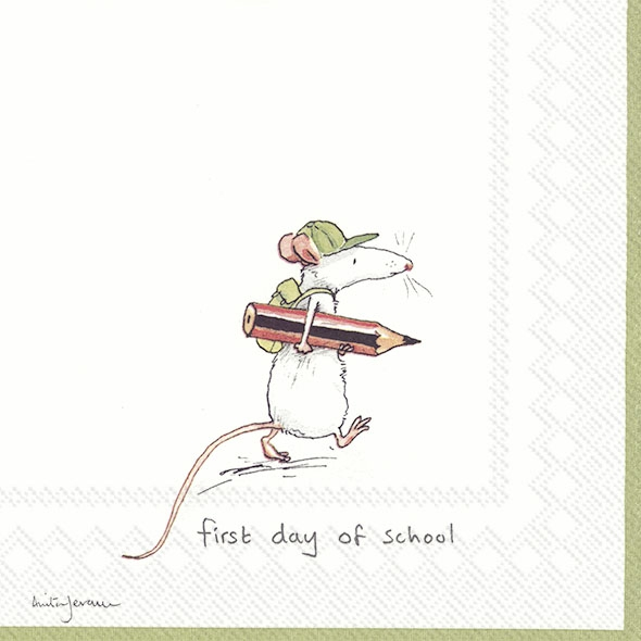 Servietten 33x33 cm - FIRST DAY OF SCHOOL white