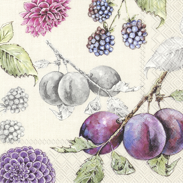 Servietten 33x33 cm - DELICIOUS PLUMS linen