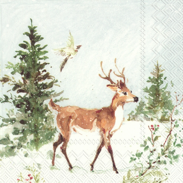 Servietten 33x33 cm - WOODLAND DEER AND MOOSE