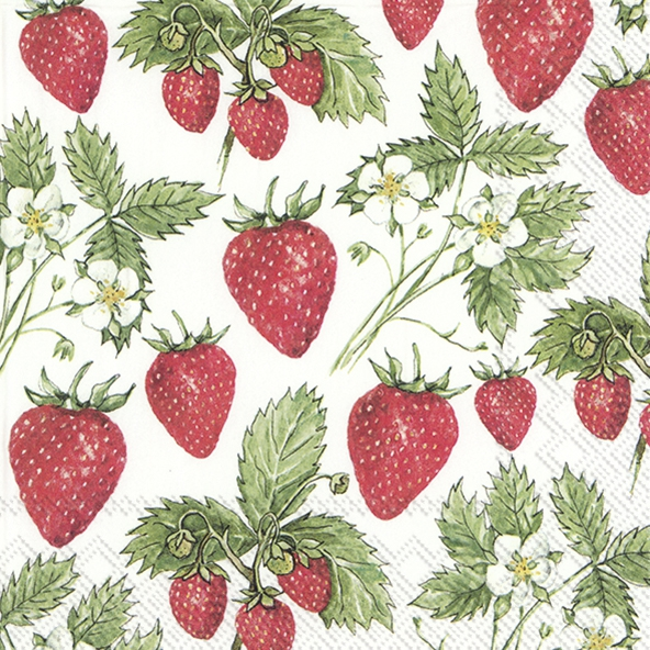 Servietten 33x33 cm - DELICIOUS STRAWBERRIES