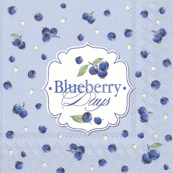 Servietten 33x33 cm - BLUEBERRY DAYS light blue