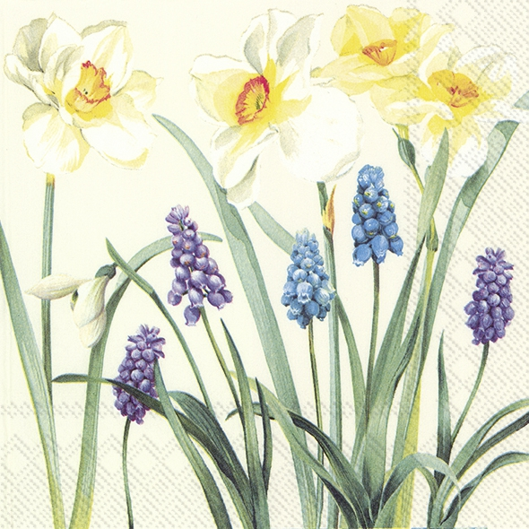 Servietten 33x33 cm - SPRING FLOWERS cream