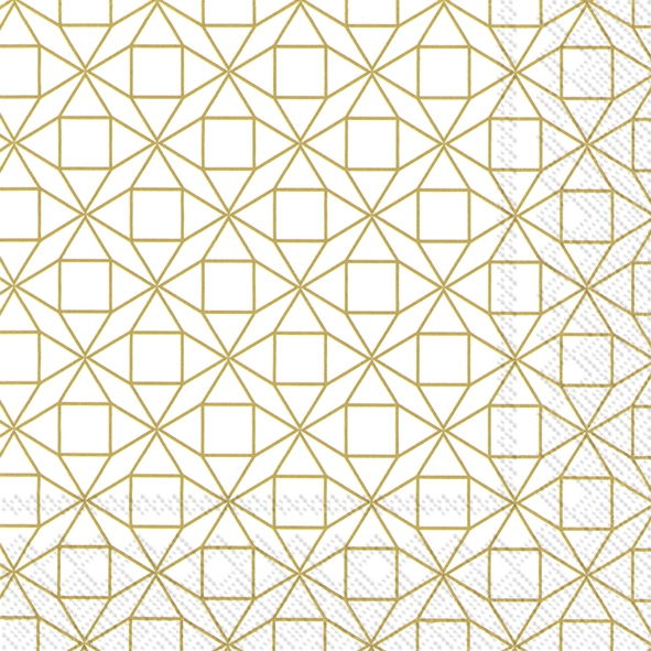 Servietten 33x33 cm - SQUARE PATTERN gold