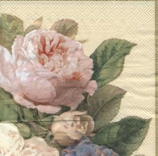 Servietten 33x33 cm - FAIRY ROSE Sahne