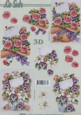 3D Bogen Rosen + Veilchen - Format A4,  Le Suh,  Blumen - Rosen,  Sommer,  3D Bogen,  Rosen