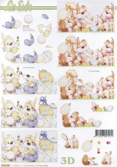3D Bogen  - Format A4, Ostern - Ostereier,  Ostern,  Le Suh,  3D Bogen,  Ostereier,  Osterhasen