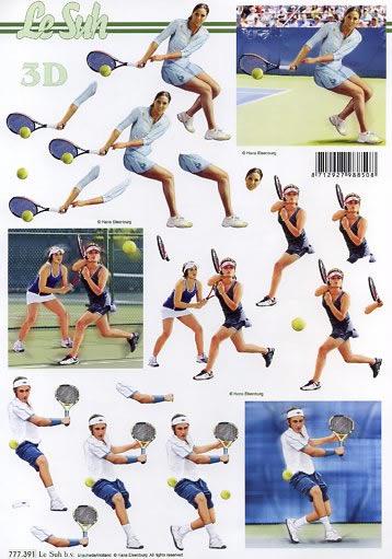 3D Bogen  - Format A4,  Menschen - Personen,  3D Bogen,  Tennis