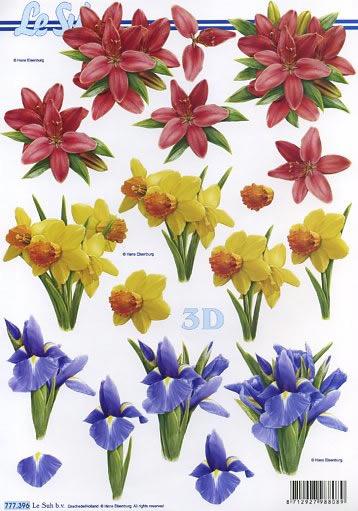 3D Bogen 3x Blumen - Format A4