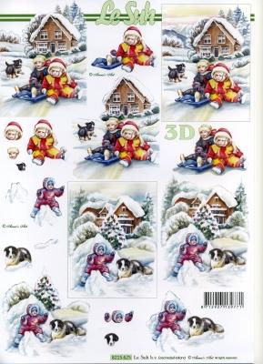3D Bogen Weihnachten mit Schnee - Format A4