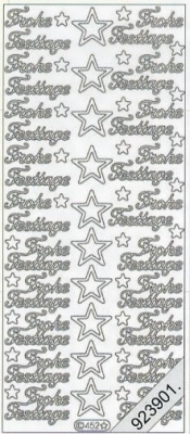 1 Stickers - 10 x 23 cm 0452 - Frohe Festtage - silber, silber,  0452 - Frohe Festtage,  Sterne