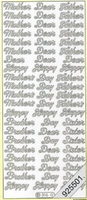 1 Stickers - 10 x 23 cm Mother Dear Father Happy Day a.s.m - silber, silber,  en - Mother,  Dear Father,  Happy Day a.s.m