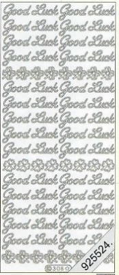 Stickers english - Good Luck - silber