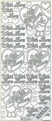 1 Stickers - 10 x 23 cm english - With Love - silber, silber,  silber