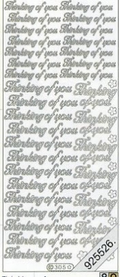 1 Stickers - 10 x 23 cm english - Thinking of you - silber, silber,  silber,  Art - Stickers normal