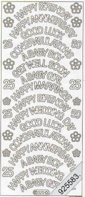 1 Stickers - 10 x 23 cm english - Happy Birthday - God Luck... - gold, gold,  gold