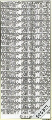 1 Stickers - 10 x 23 cm Merry Christmas - silber, silber