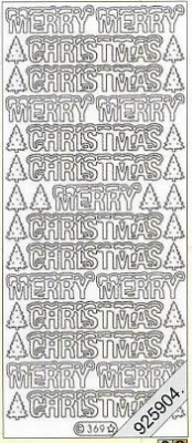 1 Stickers - 10 x 23 cm Merry Christmas - gold, gold