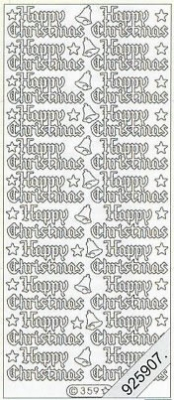 1 Stickers - 10 x 23 cm english - Happy Christmas - gold, gold,  gold,  Art - Stickers normal