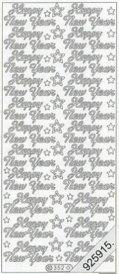 1 Stickers - 10 x 23 cm Happy New Year - gold, gold,  en - Happy New Year