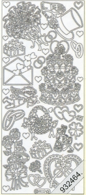 1 Stickers - 10 x 23 cm 0802 - Torte, Hut+Ringe, - silber, silber,  Art - Stickers,  0802 - Torte,  Hut+Ringe