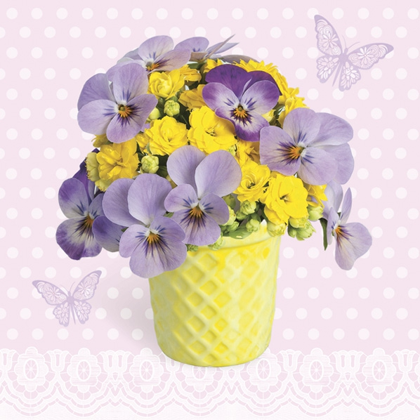 Servietten 33x33 cm - Violets and Primroses in Yellow Cup
