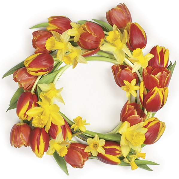 Servietten 33x33 cm - Red Tulips Wreath