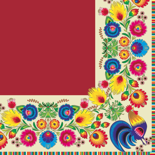 Lunch Servietten pattern border cream/red