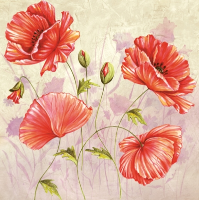 Servietten 33 x 33 cm,  Blumen - Mohn,  Everyday,  lunchservietten,  Mohn