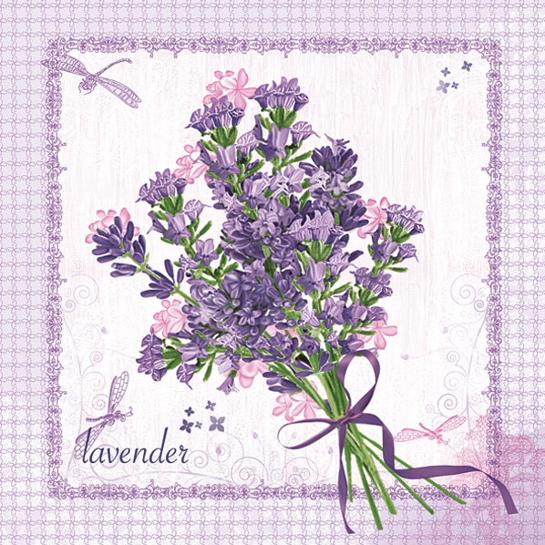 Servietten nach Motiven,  Blumen - Lavendel,  Everyday,  lunchservietten,  Lavendel