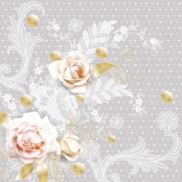 Servietten 33x33 cm - Grafische graue Spitze mit Rosenmuster