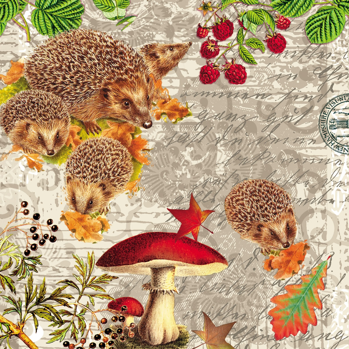 Lunch Servietten Hedgehog Family