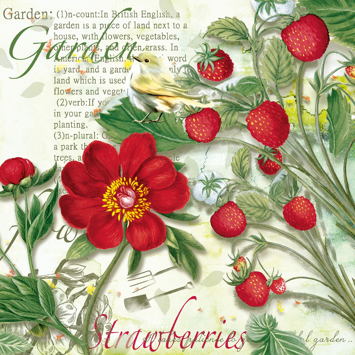 Servietten 33x33 cm - Strawberry Garden