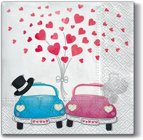 Servietten 33x33 cm - Cars in Love