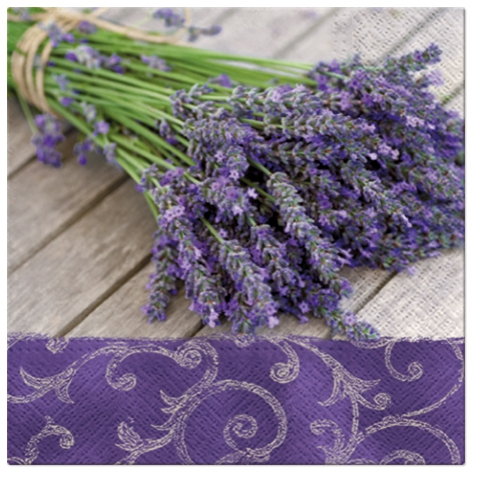 20 Servietten - 33 x 33 cm LAVENDER IN THE COUNTRY,  Blumen - Lavendel,  Everyday,  lunchservietten