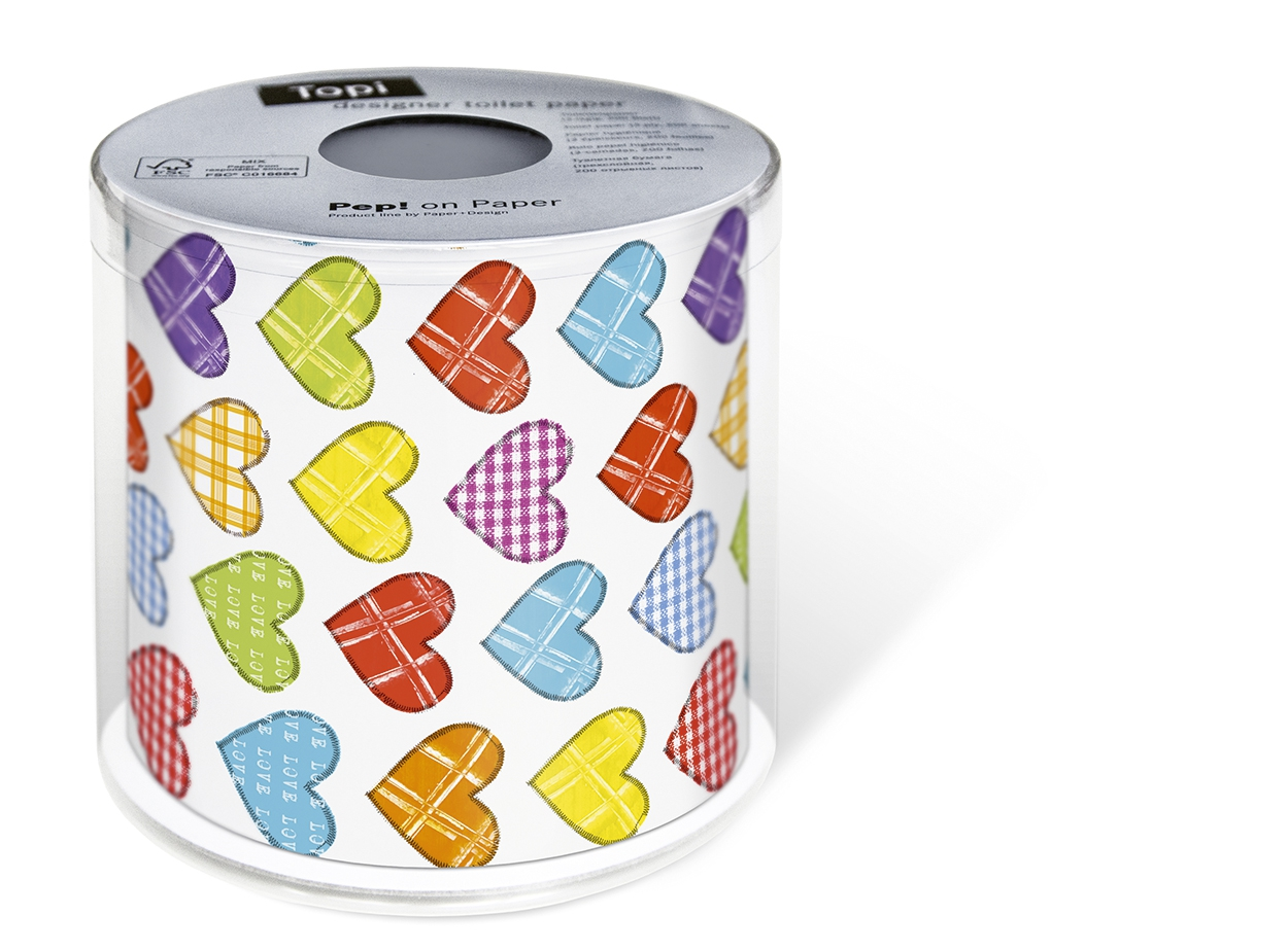 1 Rolle bedrucktes Toilettenpapier - 3-lagig - 200 Blatt Topi Colourful hearts,  Everyday,  Everyday,  bedrucktes Toilettenpapier