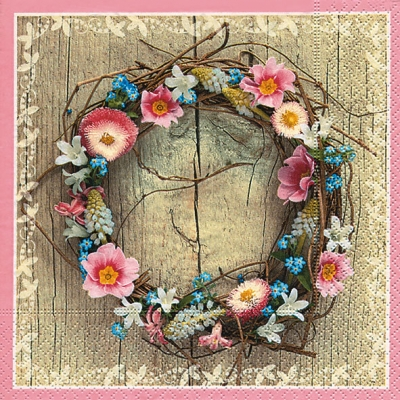 Cocktail Servietten Spring wreath