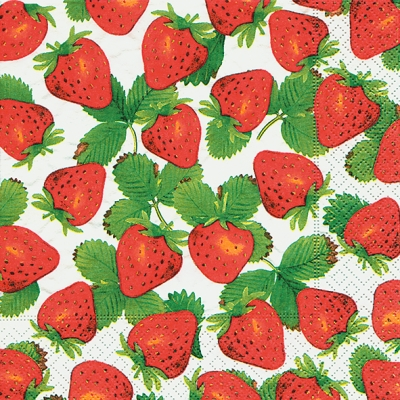 Servietten 33 x 33 cm,  Früchte - Erdbeeren,  Sommer,  lunchservietten,  Erdbeeren