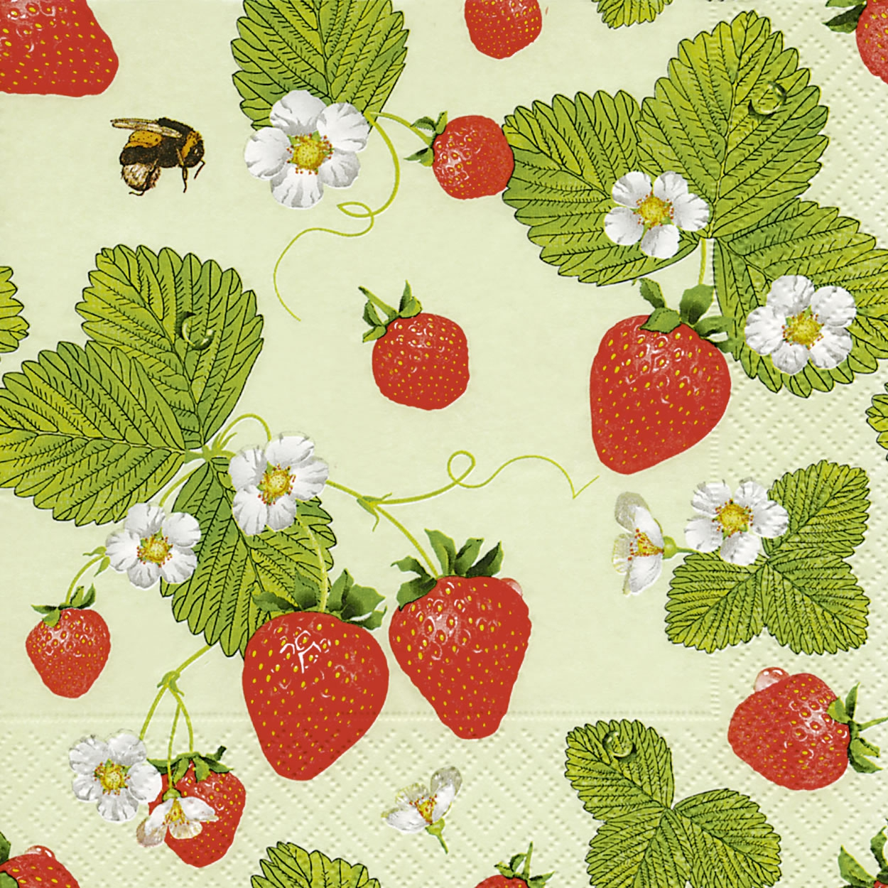 Servietten 33x33 cm - Strawberry field