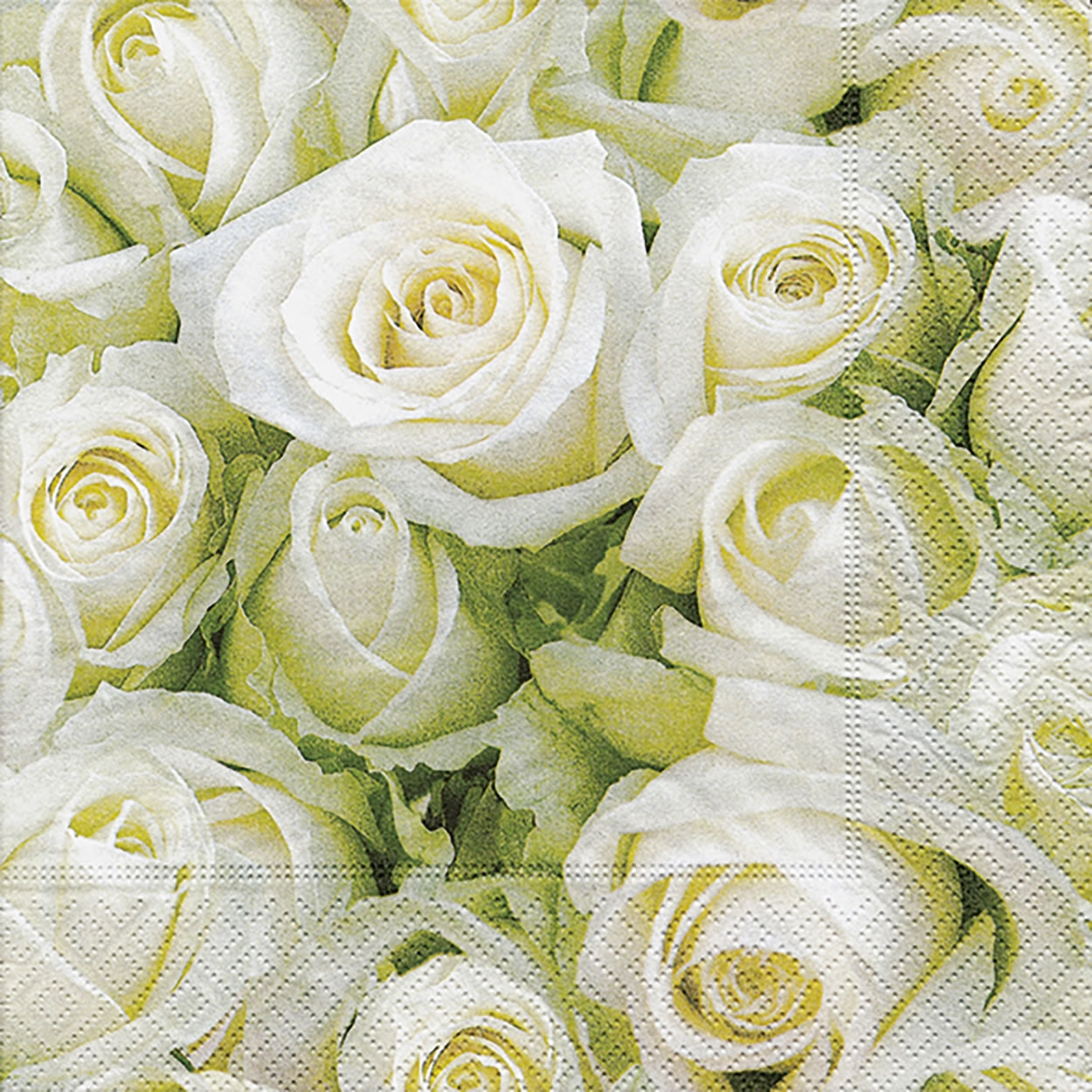 20 Servietten - 33 x 33 cm White roses,  Everyday,  lunchservietten