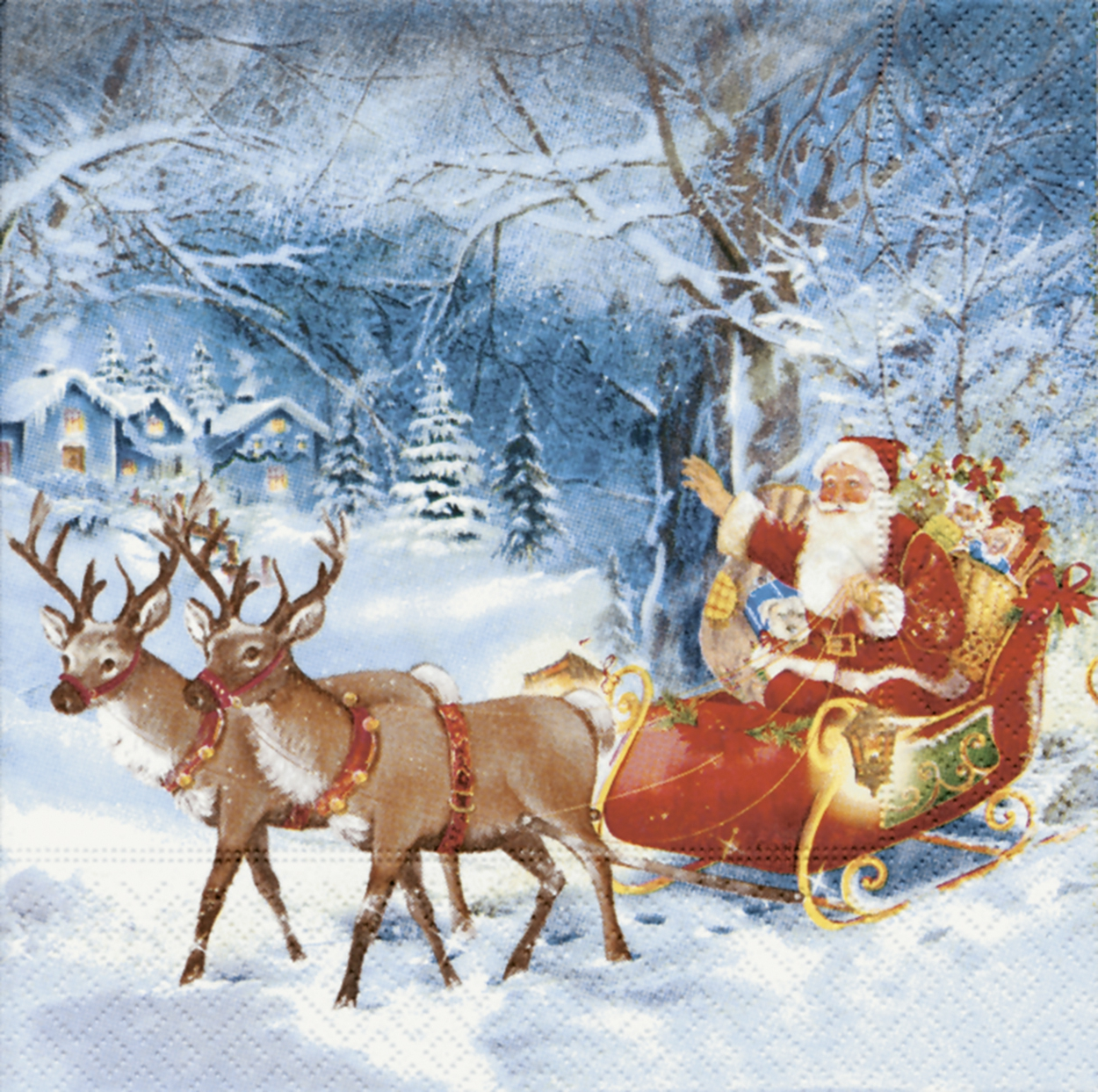 20 Servietten - 33 x 33 cm Santa on tour,  Winter - Schlitten,  Tiere - Reh / Hirsch,  Weihnachten,  lunchservietten