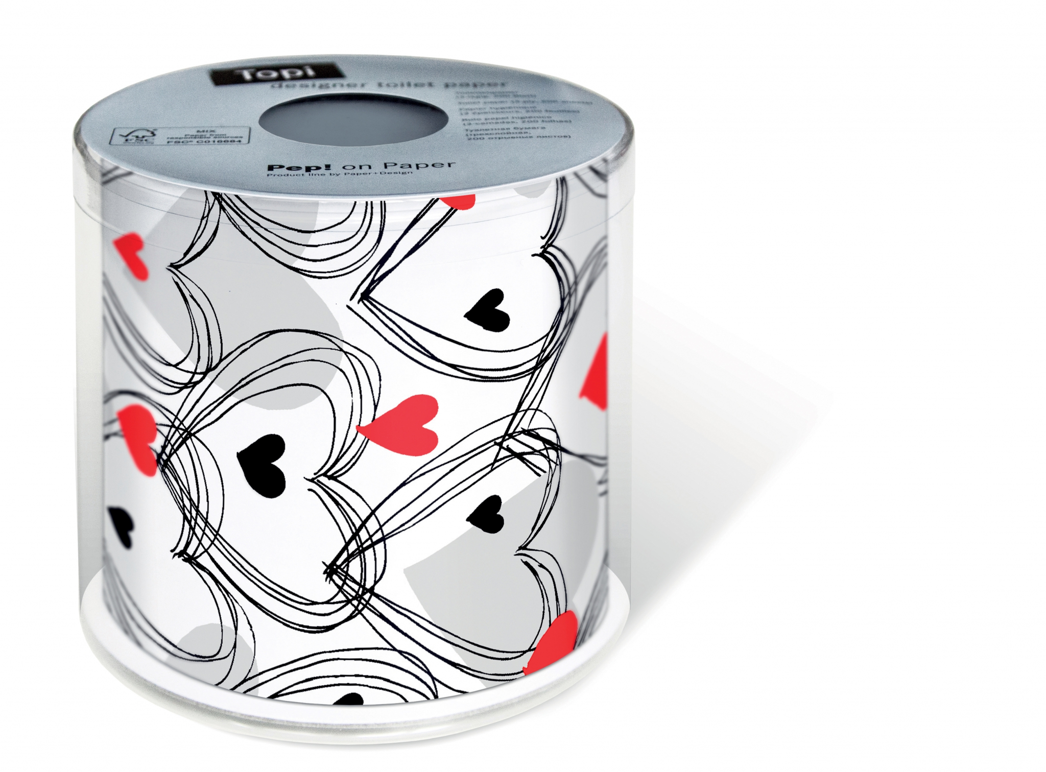 bedrucktes Toilettenpapier - Topi Shower of hearts