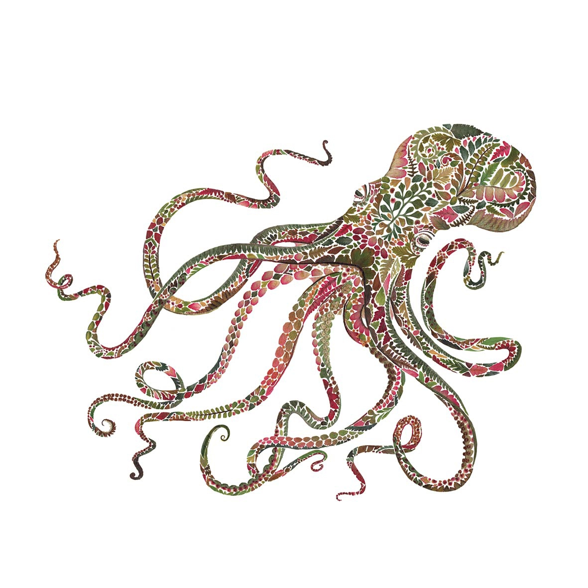 Servietten 25x25 cm - Green Octopus