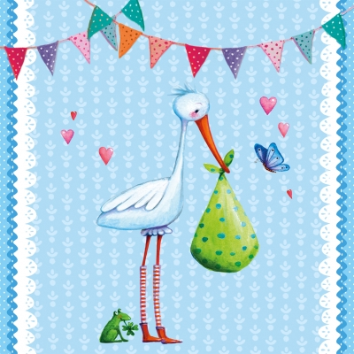 Paperproducts Design,  Ereignisse - Geburt,  Everyday,  lunchservietten,  Storch,  Baby,  Jungen,  Geburt